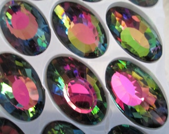 5 Vitrail Dark Iridescent Multi-Color 50mm Chandelier Crystals Glass Prisms (S-5)