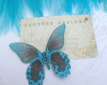 Silk Butterfly hair clip Exotic Teal