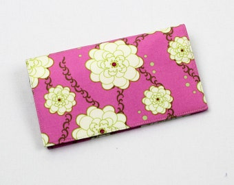 Checkbook Cover for Duplicate Checks with Pen Holder, White Gold Flowers, Pink Girly Girl Cotton Fabric
