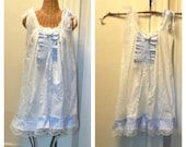 Swan Dancer Dress Size XS Boho Womens Summer White Blue Sundress Ready To Ship Lace Nautical Striped
