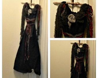 Midnight Black Dress and Veil Alternative Wedding Scary Spooky Custom Pegan Ghost Bride Short, Midi or Maxi Gothic Womens Halloween Costume