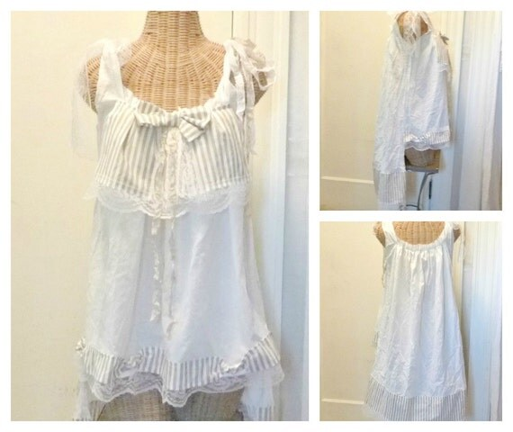 """RESERVED Cafe Latte Tunic Medium Large 38"""" Bust, LAST ONE Boho Top, Bow Stripe Ready To Ship, White Tan Nautical Womens Fashion Lace"""