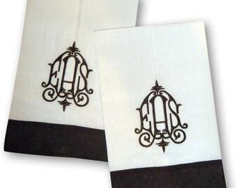Monogrammed Linen Color Trim Towels - Set of Two
