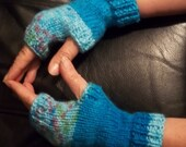 Hand Knitted Handwarmers in Aran Weight Multi Colour Turquoises