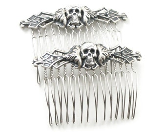 Gothic Hair Combs - Necromance Hair Combs - Macabre Hair Pieces with Antiqued Sterling Silver Plated Skulls - Set of 2