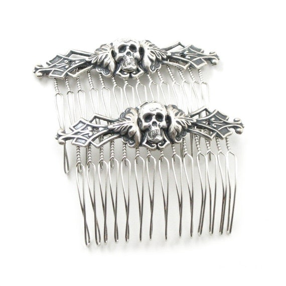 ONLY 3 LEFT! Gothic Hair Combs - Necromance Hair Combs - Macabre Hair Pieces with Antiqued Sterling Silver Plated Skulls - Set of 2