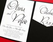 Mon Amour Pocketfold Wedding Invitation - Wedding Invite - Wedding Invitations - Pocketfold Invites