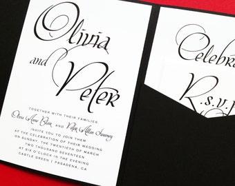 Mon Amour Pocketfold Wedding Invitation - Wedding Invite - Wedding Invitations - Pocketfold Invites