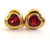 Vintage 80's Avon // Cherry Red Rhinestone Heart Clip Earrings