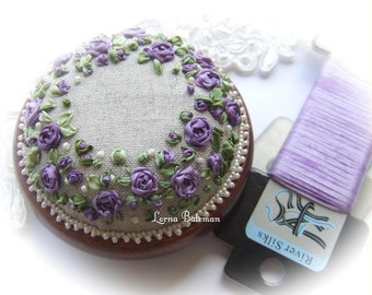 Silk Ribbon Embroidery - PP13 Roses and Pearls Purple Pincushion Kit