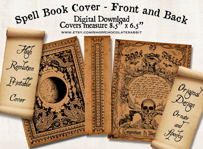 Book Cover Printable Upload ~ Witch spell book cover halloween digital download printable