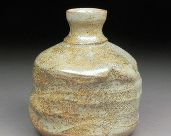 Sake Bottle Tokkuri glazed with My Custom SHINO Handmade Stoneware