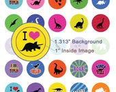Dinosaurs Rule Digital Collage Sheet - 1.313 Inch Circles for 1 Inch Buttons - Instant Download