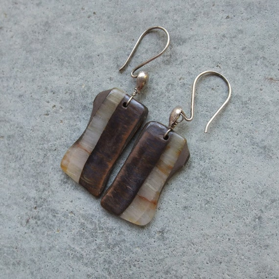 RESERVED CC - Gem stone earrings Tigers Eye, Hematite and Quartz - eco friendly - handmade in Australia by NaturesArtMelbourne