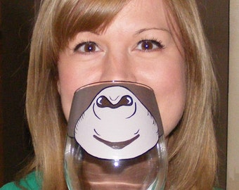 Face Changing Wine Glass by Jennie Nelson MONKEY FACE funny