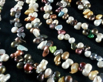 Rainbow of Peanut Pearls Assorted Colors Freshwater Cultured - Full 16 inch Strand (4221)
