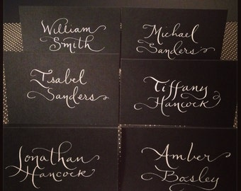 White on black place cards