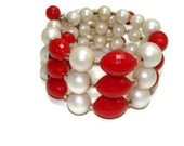 Vintage Red and Cream Beaded Memory Wire Bracelet Beaded Bracelet Red and White Bracelet Memory Wire Bracelets Bracelet Vintage Wire Cuff