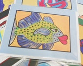Whimsical Fish Notecard Bluefin Trevaly