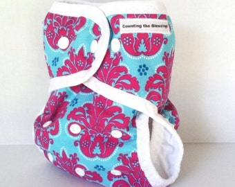 Teal, Pink, AI2 Cloth Diaper or Cloth Diaper Cover, one size, for baby girl
