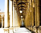 Photograph Pillar Column Arch Lined Walkway in Cairo Egypt Islamic Mosque Masjid Historic Architecture Travel Vertical Art Print Home Decor