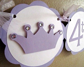 Princess Party Happy Birthday Banner, Princess Crown Party Banner, Princess Birthday Banner, Baby Shower Banner, Princess Party Banner