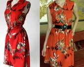 Vintage 70s Tropical Red Floral Sleeveless Dress S Summer