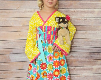 "SALE - Spring-inspired ""Flower Dance"" Kimono Dress for Girls - Summer - Floral - Yello, Pink & Aqua Blue - Easter - Party - Special Occasion"
