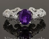 9X7 Oval cut amethyst and diamonds antique style engagement ring AMT102