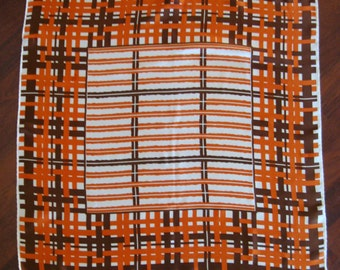 Vintage Scarf Paris Neckwear Abstract Check Orange White Brown Boho Square
