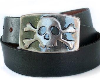 Jolly Rogers Belt Buckle/by WATTO Distinctive Metal Wear / Mens Belt Buckle, Pirate Belt Buckle/ Made From Metal/  Navy/ Sailors/ Buckles