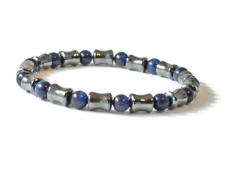 Men's Magnetic Therapy Bracelet, Midnight Blue Cat's Eye & Black Hematite, Arthritis Jewelry