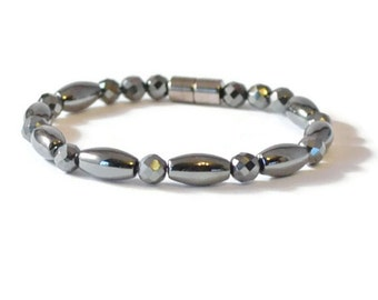 Mens Black Magnetic Hematite Therapy Bracelet, Holistic Jewelry, Pain Relief
