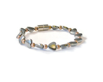 Black and Copper Magnetic Hematite Therapy Bracelet, Holistic Jewelry, Pain Relief