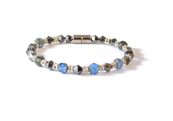 Sapphire and Black Magnetic Hematite Bracelet, Arthritis Relief, Health Jewelry
