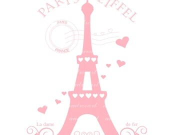 Digital clip art for all use, Paris Eiffel Clip art, Pink,  instant download clip art