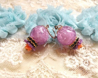 assemblage earrings flower dangle vintage bead purple upcucled jewelry cottage chic homespun