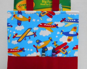 Airplanes Crayon Tote