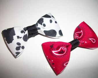 Hair Bow Set, Red Bandanna, Cow Print Bow Tie Hair Bows, Hairbows, Bows, Western Cowgirl Hair Bow Set of Two. Western  Cowgirl Party Favor