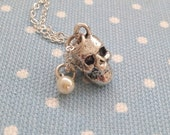 Skull Necklace with Pearl Bead