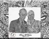 Personalized Sketches Art drawn ENTIRELY with ANY NAME, Ink, 11x14 portrait of 2 subjects and additional calligraphy,  Reserve for Leanne