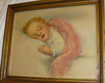 Darling Antique Child BABY PICTURE Sleeping Child 1920's Print