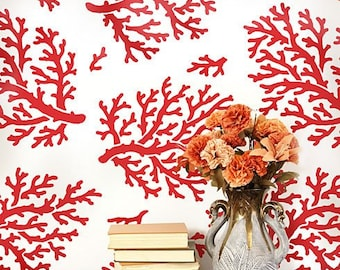 Coral Allover Stencil Pattern - reusable stencil patterns for walls just like wallpaper - DIY decor