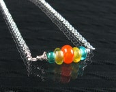 Candy Glass Bead Necklace Orange Yellow Teal Silver Plated
