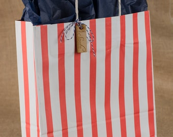 Red Stripe Paper Gift Bags w/twisted paper handle - 12 x 16 x 4 Inches - set of 25