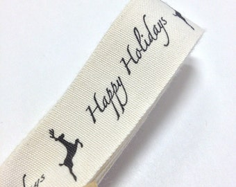 Happy Holidays Reindeer Cotton Creme Ribbon - FULL SPOOL - 3/4 Inch Width - Packaging and Gift Ribbon 30 Yards