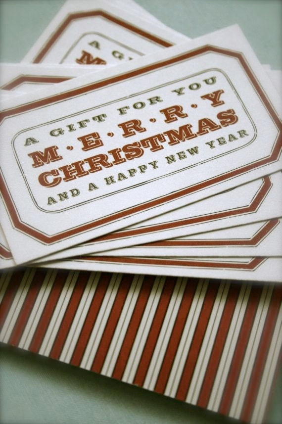 Gift Cards - set of 15 - Rectangle Shaped Two Sided Vintage Style Design and Stripes with Twine