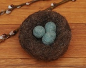 Needle Felted Bird's Nest with Robins Eggs or Acorns