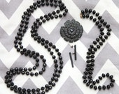 Lovely set of 4 Black Necklaces Rhinestone Brooch Pin Metal Earrings