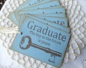 Graduation Tags, School Tags, Key to Your Future, Best Wishes, Party Tags, Graduation Gift Tags Blue Set of 6